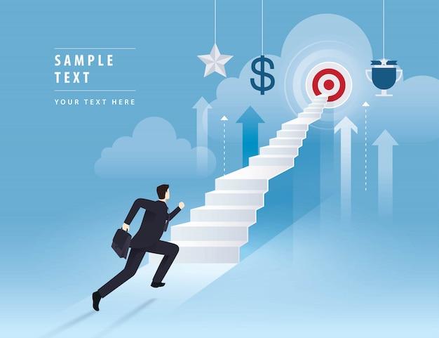 Бизнесмен работает вверх по лестнице к цели