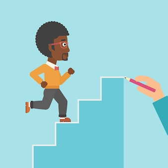 Businessman running upstairs vector illustration.