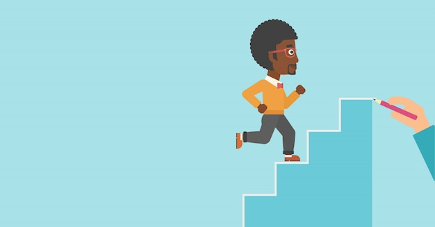 Businessman running upstairs vector illustration.