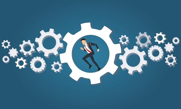 Businessman running in wheel gear
