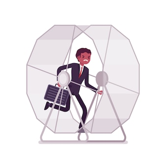 Businessman in a running wheel