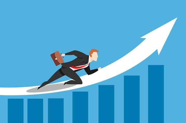 Businessman running on the white arrow graph. business concept illustration