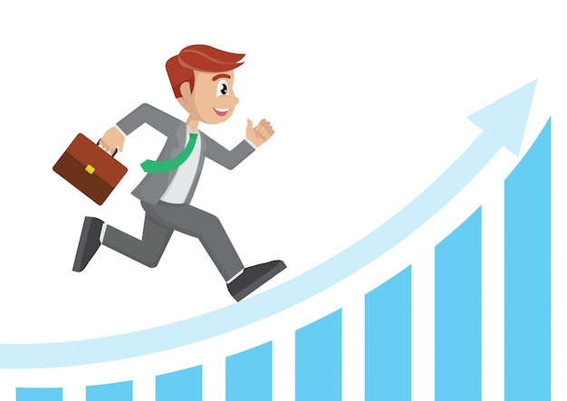 Businessman running on the white arrow graph.