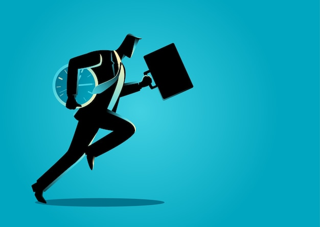 Businessman running with briefcase and clock