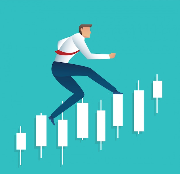 Businessman running with candlestick chart