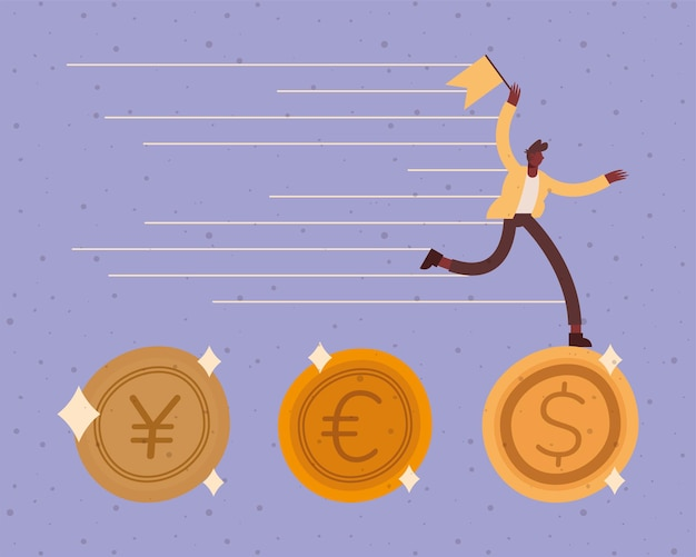 Businessman running with flag on coins design, business and management theme  illustration