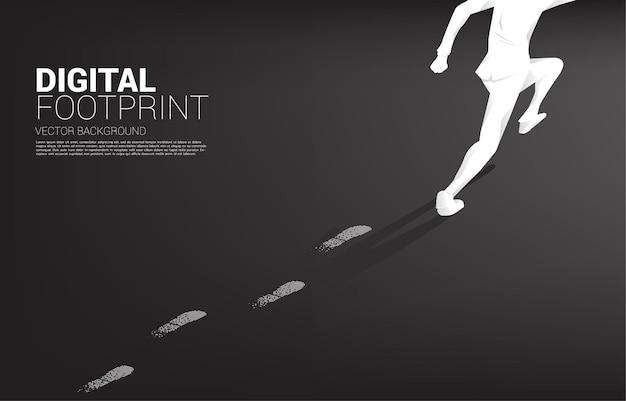 디지털 도트 픽셀에서 발자국을 실행하는 사업가. 디지털 전환 및 디지털 발자국의 비즈니스 배너.