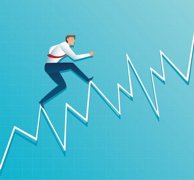 Businessman runs on graph, running to the top of arrow