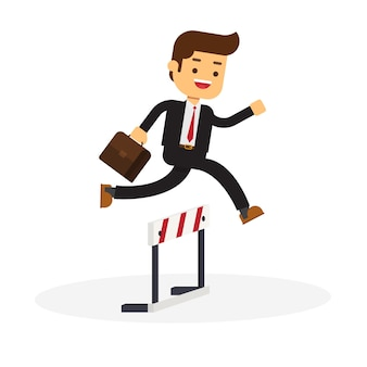 Businessman runs on obstacle course