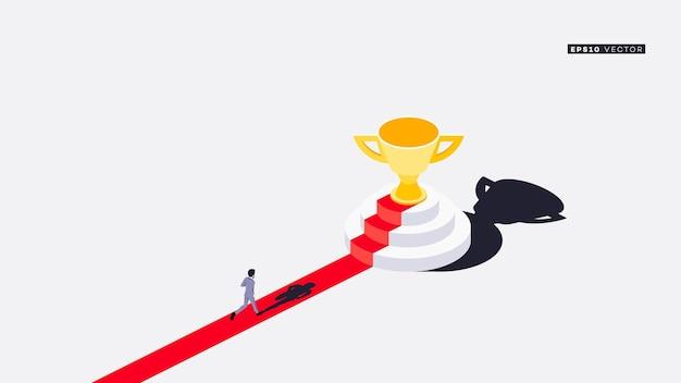 ビジネスマンはレッドカーペットで優勝トロフィーに走ります。概念的な等角図