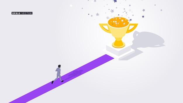 Бизнесмен бежит к трофею победителя на красной ковровой дорожке