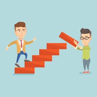 Businessman runs up the career ladder.