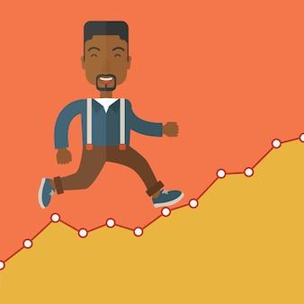 Businessman runs up the hill.