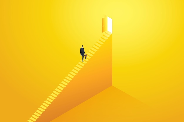 Businessman rushing up the stairs to the target goal at door and success