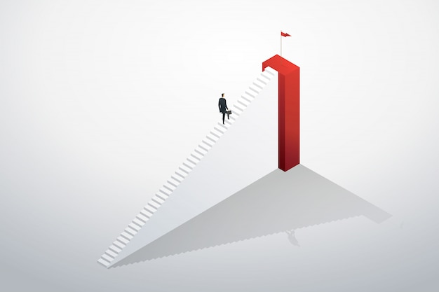 Businessman rushing up the stairs to the target goal and success.
