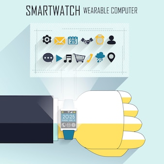 Businessman's hand with smart watch and technical icons in line style