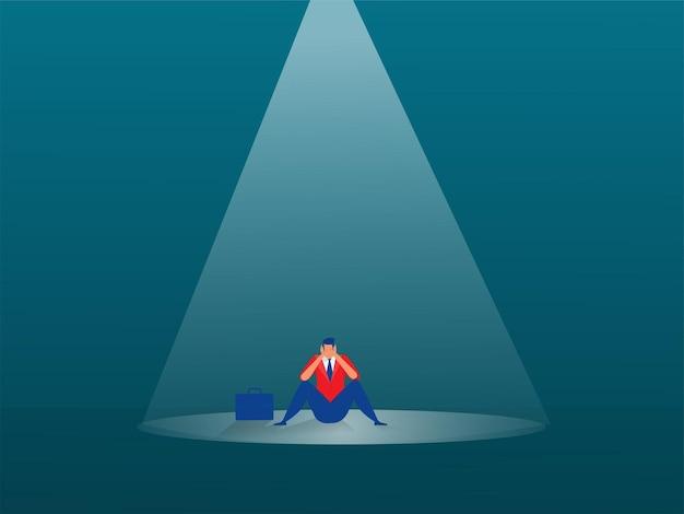 Businessman sad in spotlight effect concept illustration