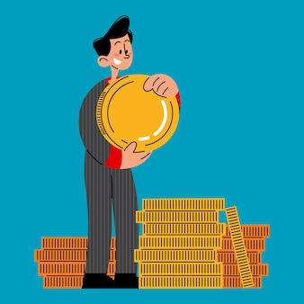Businessman saving gold coins success goal and target achievement flat vector illustration