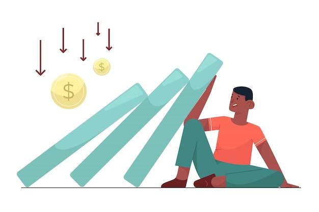사업가는 재정적 인 다운으로 자신의 사업 감소를 두려워했습니다.
