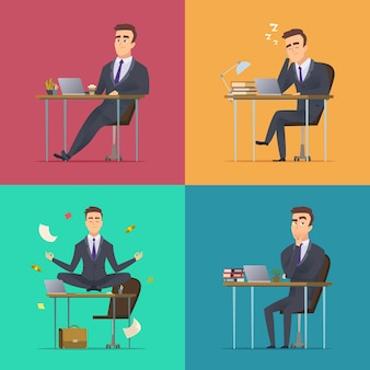 Businessman scenes. office manager or director various poses sitting desk works sleeping meditates thinking wor routine  concept