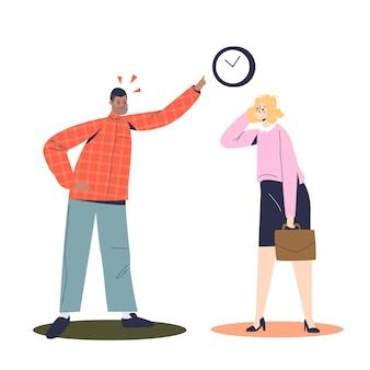 Бизнесмен ругает коммерсантку поздно утром. злой босс кричит на деловую женщину и указывает пальцем на часы в офисе