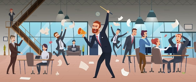 Businessman screaming in office chaos deadline stress managers working and running concept