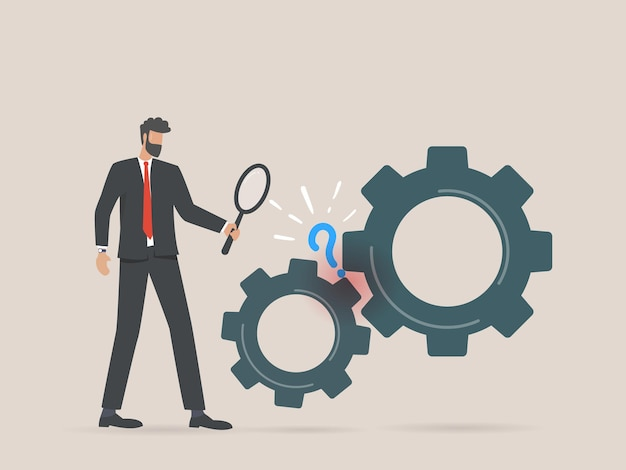 Businessman search for problem solutions research analysis concept