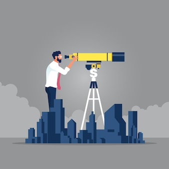 Businessman search property with telescope idea of real estate