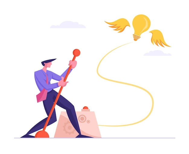 창의적인 아이디어 개념을 검색하는 사업. 비즈니스 남자는 빛나는 전구를 발사하기위한 거대한 레버 팔을 밀어
