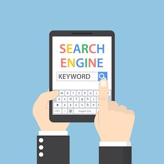 Бизнесмен ищет ключевое слово в поисковой системе