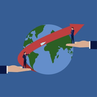 Businessman send paper airplane to other on other side of globe metaphor of global connection.