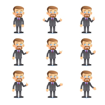 Businessman in set of various poses