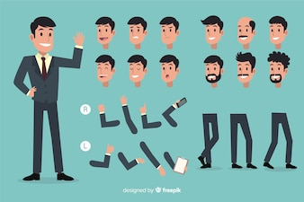 Businessman set with different postures