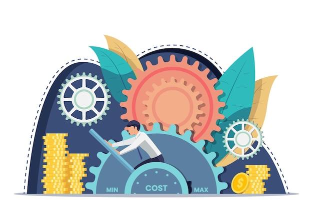 Рычаг стоимости установки бизнесмена на минимальное положение. снижение затрат и концепция финансового управления.
