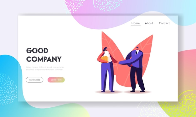 Businessman shake hand to recruit landing page template. company hiring manager welcoming employee