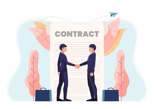 Бизнесмен, рукопожатие с контрактным документом. деловое партнерство и концепция договорного соглашения.