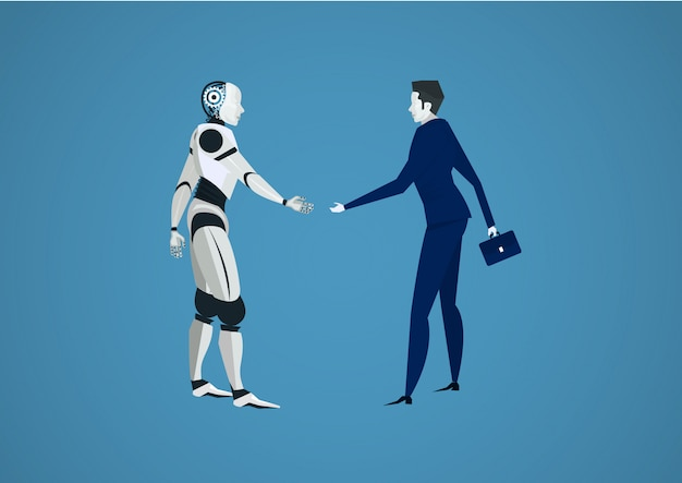 Businessman shaking robots hand for investment. human vs robot futuristic