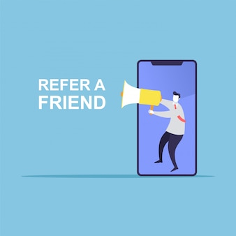 Businessman share info about refer a friend
