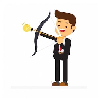 Businessman shoot an arrow to the bow