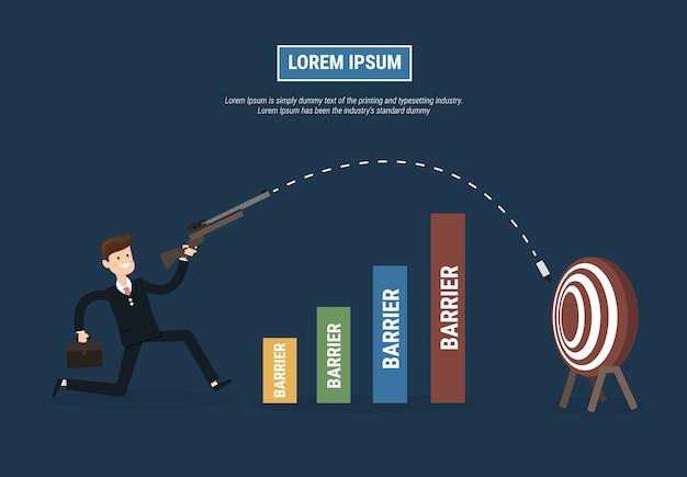 Businessman shoot target of success concept.