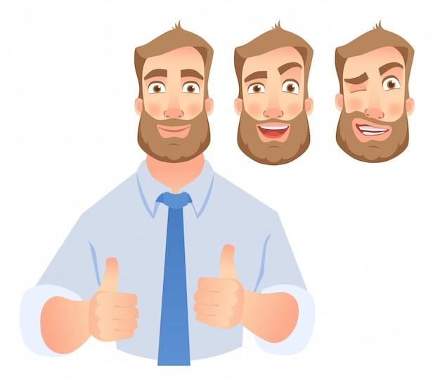 Businessman show thumb up -set