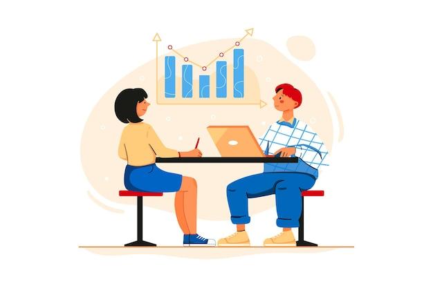従業員に会社の成長を示すビジネスマン