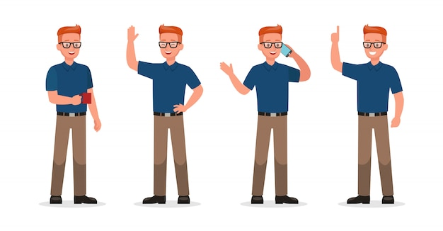 Businessman showing different gestures character set