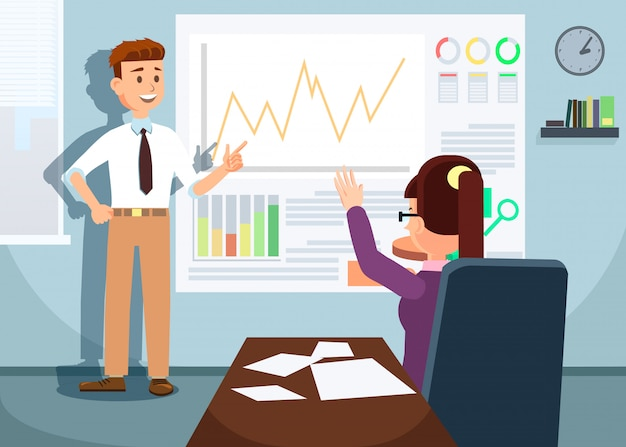 Businessman showing growing stock chart to woman.