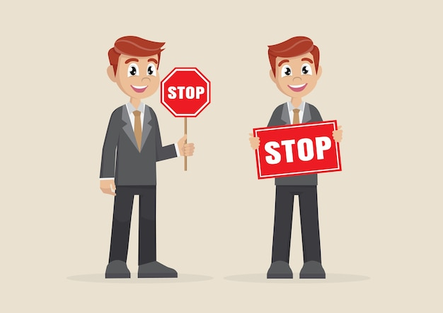 Businessman showing stop road sign.