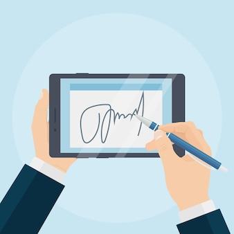Бизнесмен, подписывающий контракт с цифровой подписью на планшете