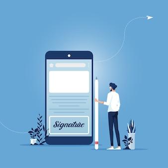 Бизнесмен, подписывающий на экране смартфона