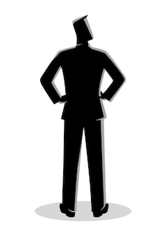 Businessman silhouette standing back view