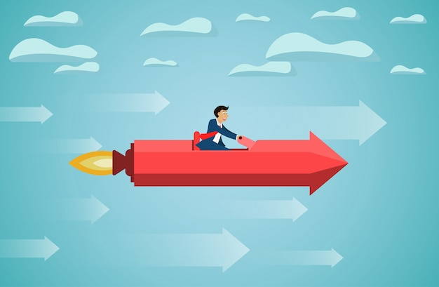 Businessman sit on red rocket arrow fly on sky go to success goal