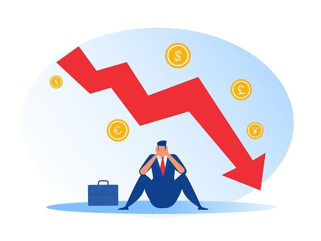 ビジネスマンはストレスダウン矢印チャートグラフと破産した金融の秋に座る